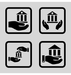 Bank Service Flat Squared Icon vector image