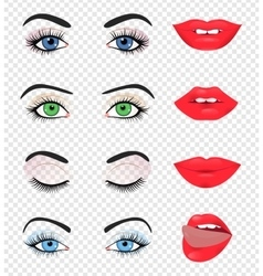 Beauty female eye and lip vector