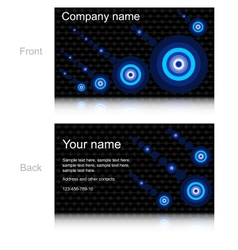 Black business card with blue circles vector image