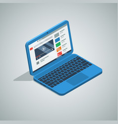 blue color netbook laptop isometric icon vector image