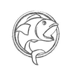 Blurred sketch silhouette of circular shape emblem vector