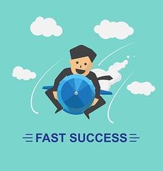 Businessman rocket fast success business vector