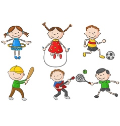 Cartoon little kids games collection vector image vector image