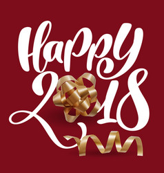 christmas greeting card happy 2018 lettering red vector image