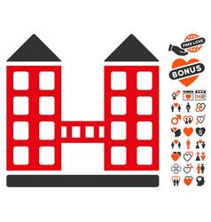 Company building icon with valentine bonus vector