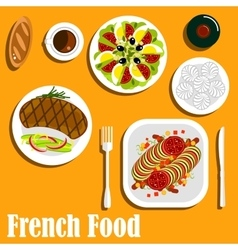 French cuisine main course and desserts vector image vector image