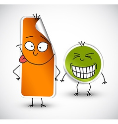 Funny stickers green and orange vector