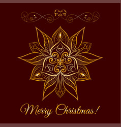 gold snowflake icon over brown background vector image vector image