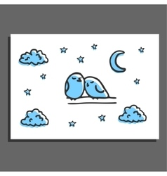 Greeting card with a couple of sleeping birds and vector image