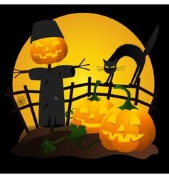 Halloween-garden-pumpkins vector