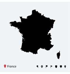High detailed map of France with navigation pins vector image vector image