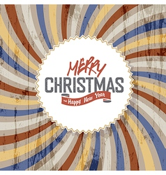 merry christmas colorful rays wooden background vector image