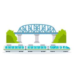 modern train on railway on street city and park vector image vector image