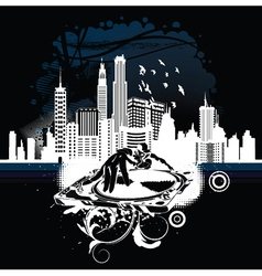Music background with dj and city vector