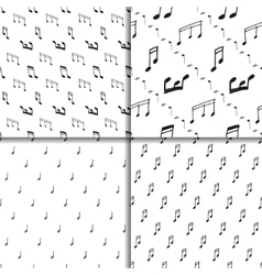 Music notes seamless pattern set vector