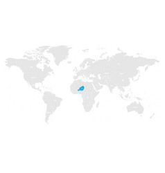 niger marked by blue in grey world political map vector image vector image