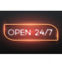 Open 24 hours glowing neon frame vector