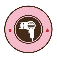 Pink circular border hairdryer with stars vector