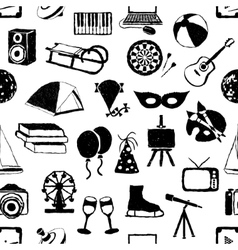 Seamless doodle entertainment pattern vector