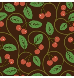 seamless pattern with red cherries vector image