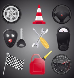 set of automobile objects vector image vector image