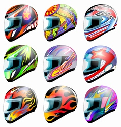 Set of racing helmet i vector image