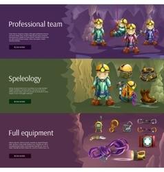 Speleology interactive 3d banners set vector