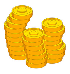 Stacks of coins with crown icon cartoon style vector