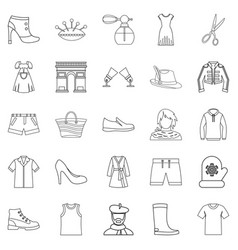underlinen icons set outline style vector image
