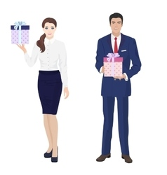 Young handsome businessman and beautiful vector image