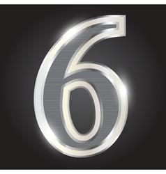 Silver metallic number vector image