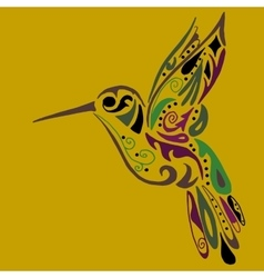 Hummingbird for coloring or tattoo vector