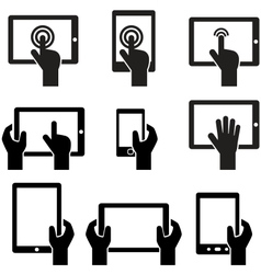 Icon set tablets and gadgets with touch screen vector