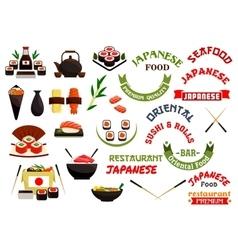 Japanese cuisine restaurant labels ribbons vector