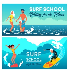 Surf school horizontal banners vector