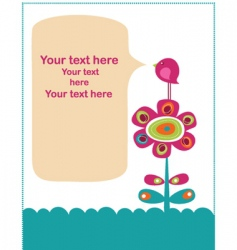 Cute retro flowers template vector