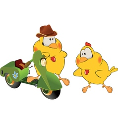 Chickens and a moped cartoon vector