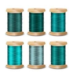 Thread spool set bright old wooden bobb vector