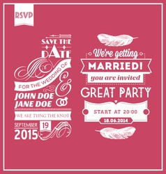 Wedding stamps pink vector