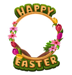 Happy easter greetings with flowers frame vector