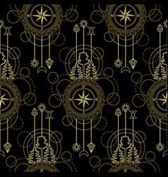 Gold compass seamless pattern vector