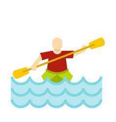 kayaking water sport icon flat style vector image