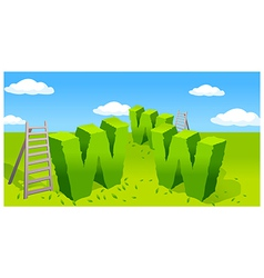 Www symbol and ladder on green landscape vector