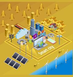 smart city internet infrastructure isometric vector image