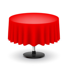 Classic round table with red cloth isolated on vector