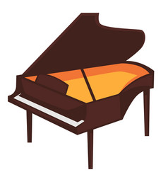 Big brown piano with open top isolated vector