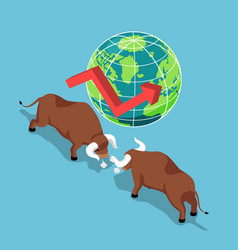 Isometric bulls fighting with world and growth vector