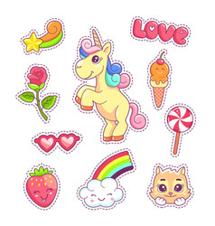 Stickers set pop art style with unicorn vector