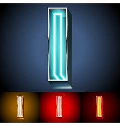 Realistic neon tube alphabet for light board vector image