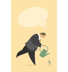 Stylized man watering a plant vector
